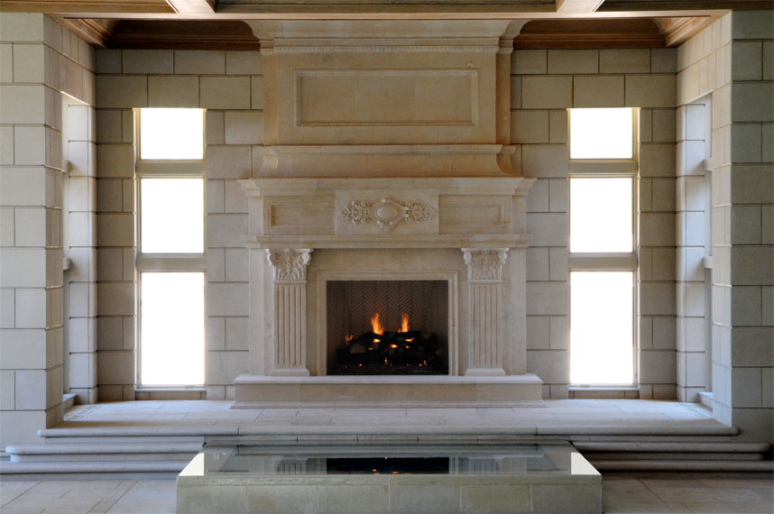 Jeruselem Limestone Fireplace Mantel. 15 feet high/12 feet wide. Custome designed fireplace mantel. Fireplace mantels designed to fit.