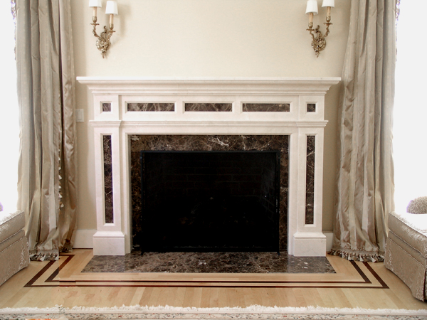 Fireplace designs dms studios ltd carved stone fireplace for Fire place mantel ideas
