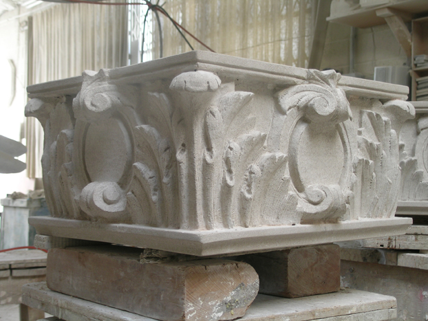 Architectural limestone stone carving and